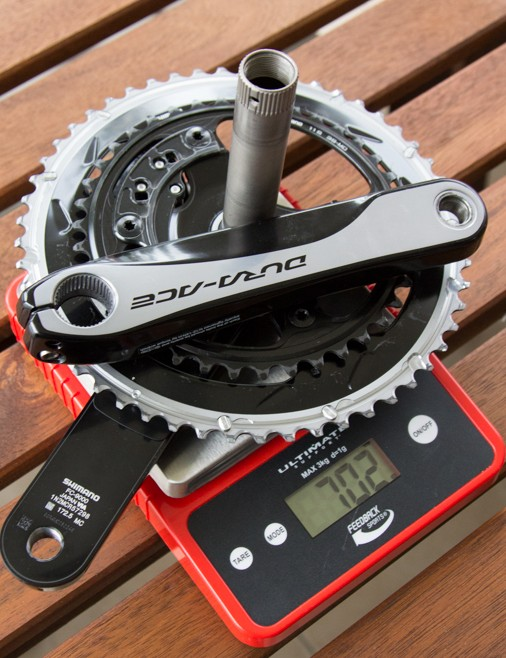 The weigh-in of the Dura-Ace 9000 172.5mm crankset (53/39T) with Pioneer power meter installed. Adding just 65g, the Pioneer is respectably lightweight