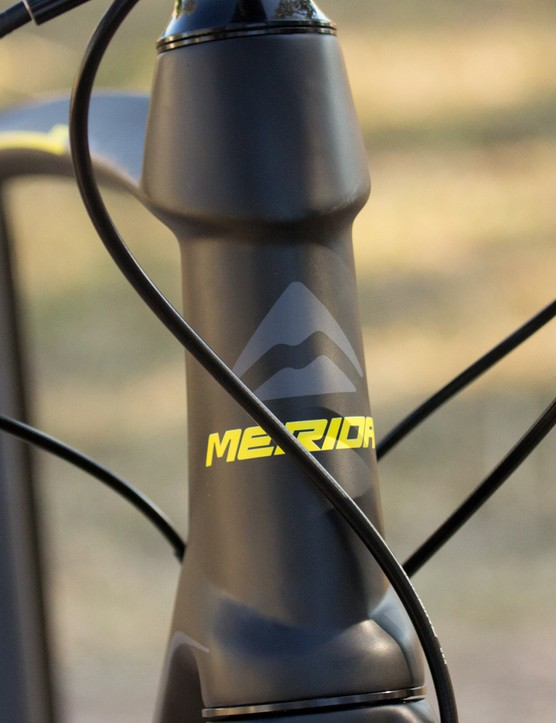 The heavily shaped head tube offers a clean flow-on look to the curved top tube