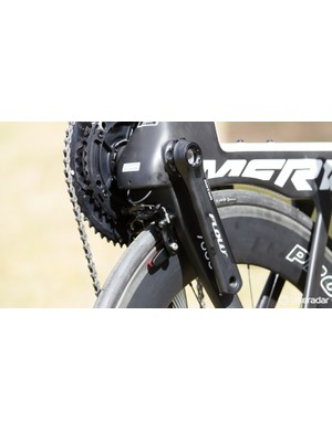 Tucked away behind the bottom bracket is the Merida direct-mount rear brake