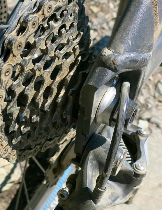 SRAM's dedicated seven-speed downhill drivetrain was silent and reliable during our time at Whistler