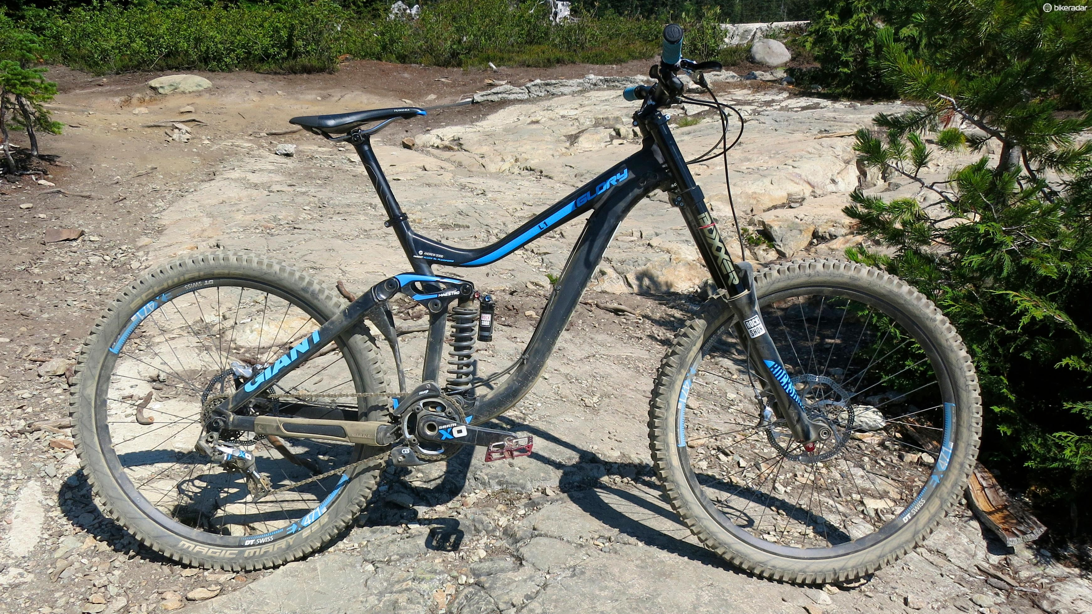 Our size large Giant Glory 27.5 0 test bike