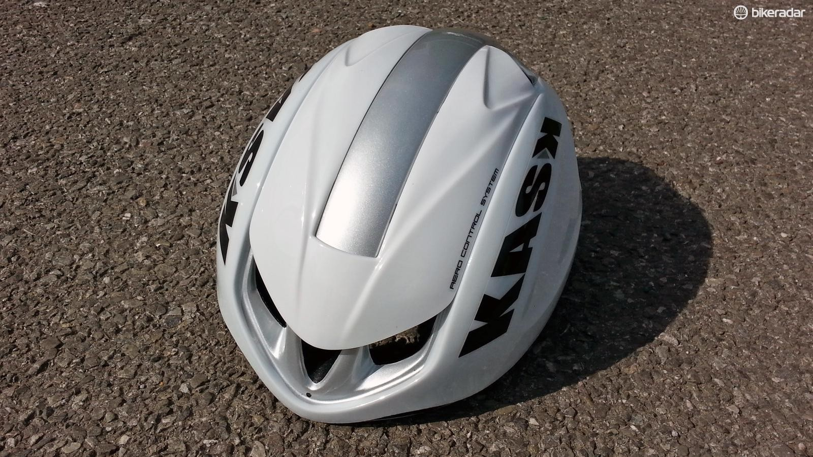 The Kask Infinity's major feature is a sliding top panel to reveal a row of vents