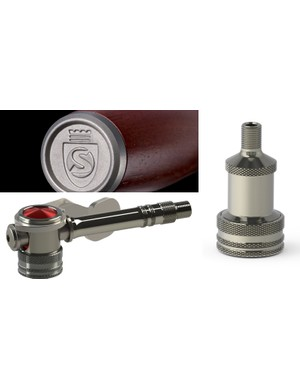 The standard Presta valve head (at right) is a faithful redesign of the original Silca head, now in stainless steel. More stainless is used for the handle (top left) while disc wheel users can turn to the optional Hiro right-angle head (bottom left)