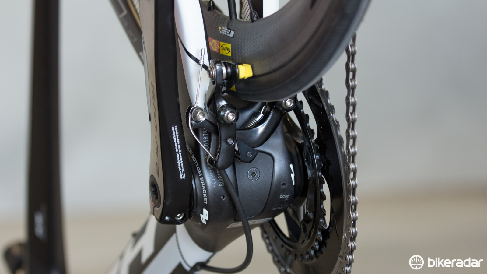 Tucked behind the bottom bracket, here's a closer look at the new chainstay mounted Shimano direct-mount rear brake