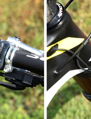 A small rotary switch on the handlebar simultaneously controls the small servo motors in the fork and rear shock for near-instant lockout