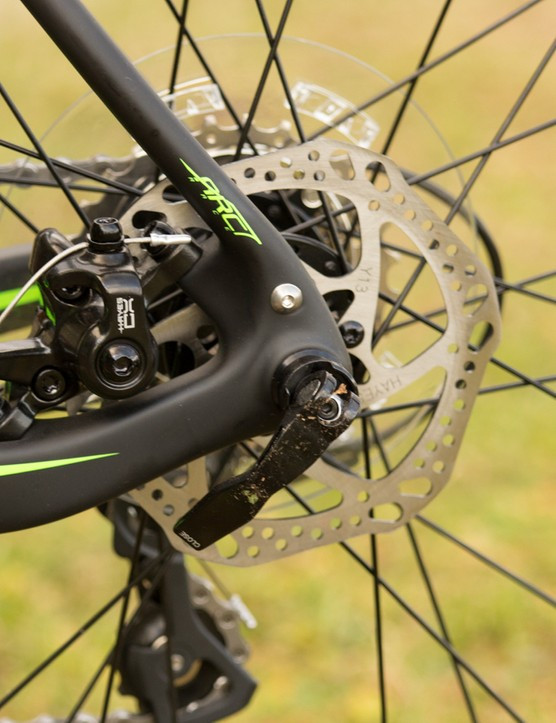A smaller 140mm rotor on the rear is said to provide more balanced brake control with the larger 160mm front rotor