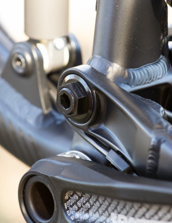 New pivot hardware on the alloy models allow for tightening from the left side of the bike, no need to remove the cranks here