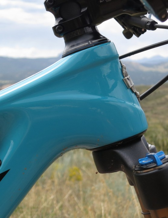 The short head tube keeps the bars low, even with a 120mm fork