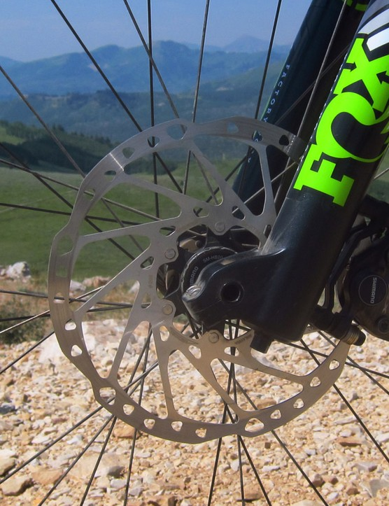 180mm-diameter rotors front and rear plus Shimano SLX hydraulic disc brakes provided gobs of stopping power - just the thing when charging into Deer Valley, Utah's tight and loose switchbacks