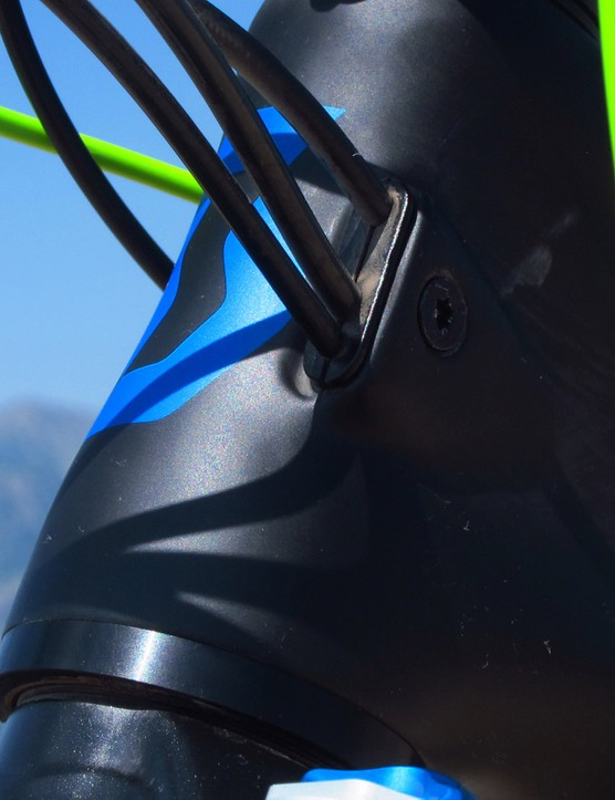 The internal cable routing features ports that clamp the lines in place to reduce migration and rattling