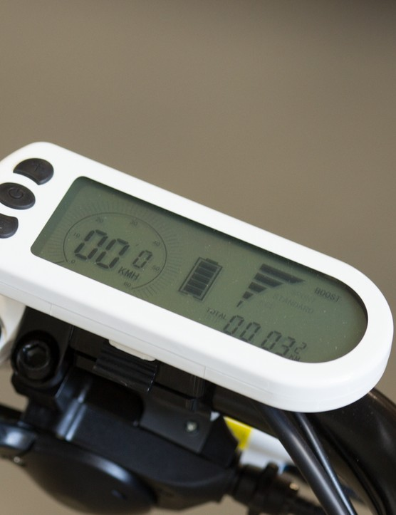 The LCD control panel facilitates control of the motor boost, battery levels and basic speed/distance readings