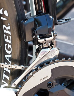 The front derailleur looks impressively finished and polished. And with no wires, the group should be a breeze to install