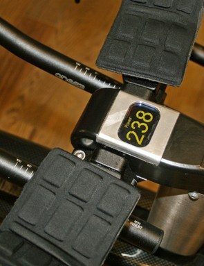 The stem features a small display used to show power, cadence or heart rate during fitting