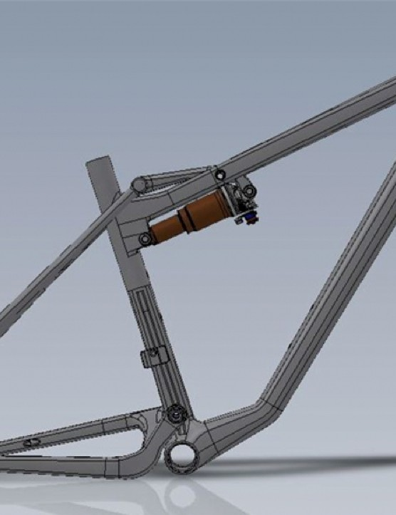 Open Cycles recently posted a CAD image of its first full suspension mountain bike on the company blog
