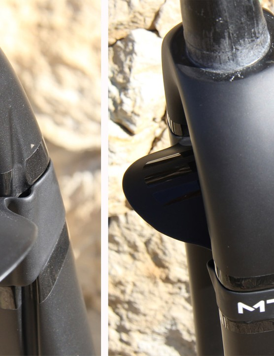 ENVE added a removable carbon fender. The fender, as well as the clamps that replace it when not in use, also double as the guide for the front brake line