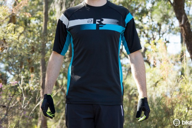 The Race Face Indy SS jersey, available in this turquoise/black or a red/white/black option
