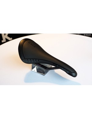 Fi'zi:k showed off a new version of its Kurve saddle, which now uses a carbon fibre and Kevlar shell instead of the glass fibre composite construction of the original version