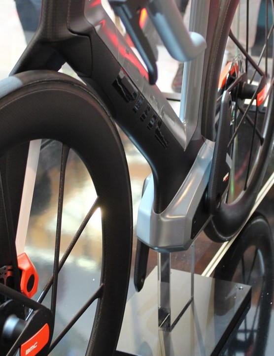 The bike is single-sided, from the one-legged fork to the drivetrain-side-only stays