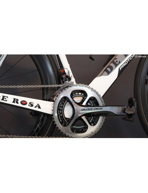 Check out the size of the chain stays and down tube relative to the Shimano Dura-Ace crankarm