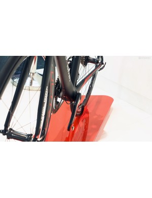 The rear brake is tucked down below the chain stays on the new Colnago C10
