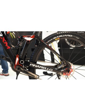 The rear end of Pinarello's Dogma XM is essentially a single-pivot layout
