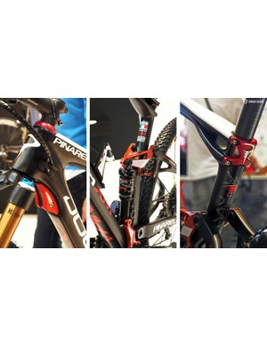 Neat features are found throughout the Pinarello Dogma XM, such as the single-sided shock mounts, the integrated stops for the fork crown, and the stem-like seatpost clamp