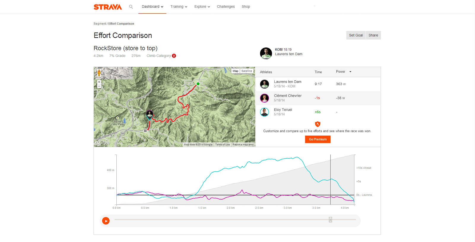Strava's new Effort Comparison tool show athlete metics in real time through a selected segment