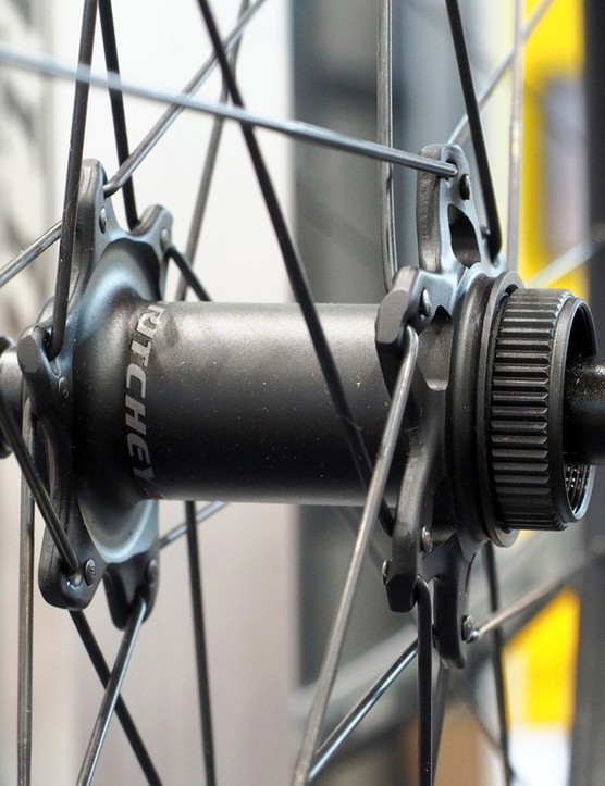 Ritchey has decided on Shimano's Center Lock rotor interface for the new WCS Zeta Disc wheels since Shimano's best road-specific rotors aren't offered in six-bolt fittings. The forged hub shell is actually made in two pieces with the rotor-side flange being a separate bit that is