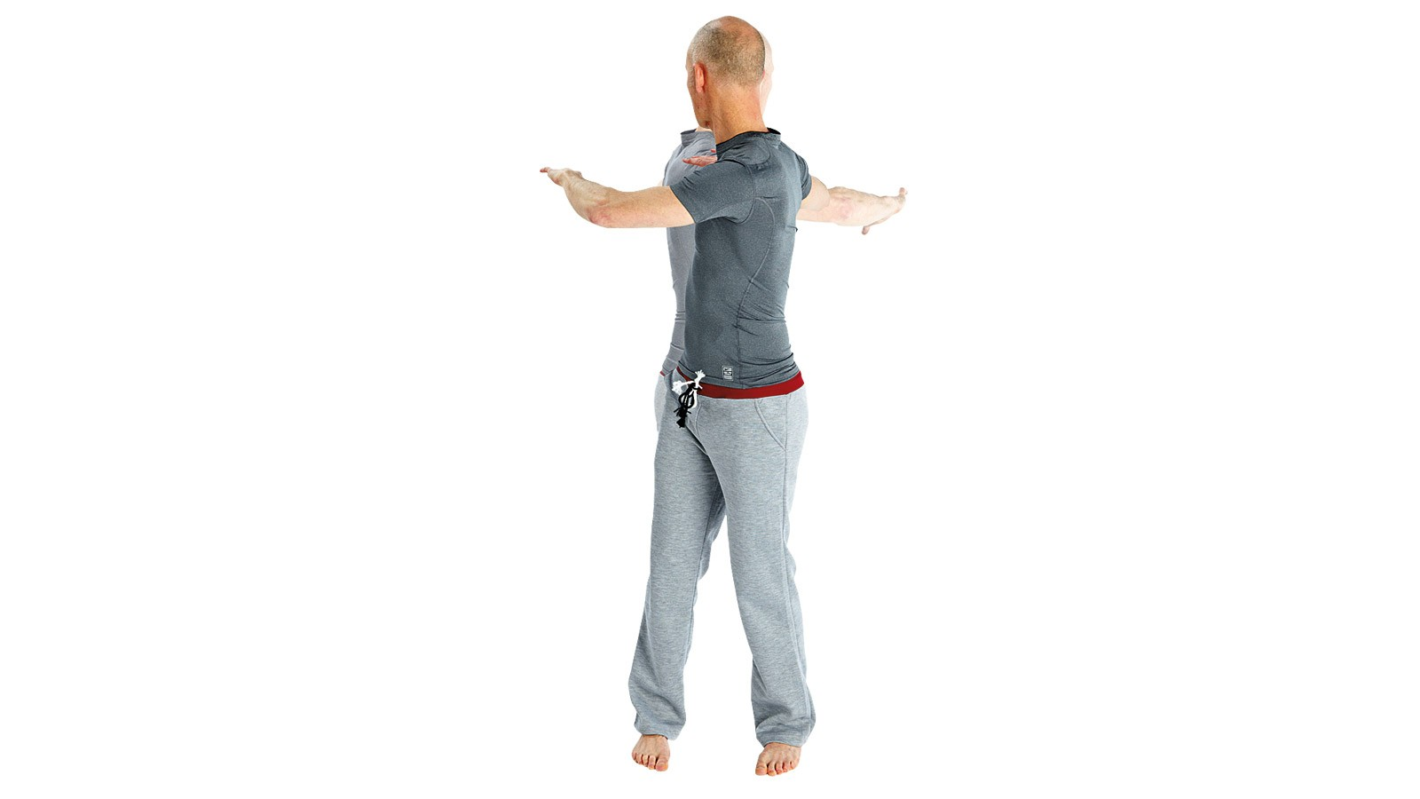 Twisting body from side to side, breathe in when facing forwards and out as the body twists behind
