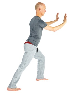 The calf stretch — you should feel the stretch in your upper calf in the rear leg