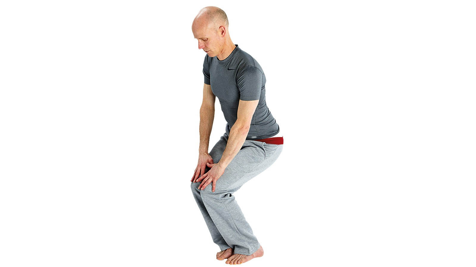 Rotate the knees from small to larger circles. Place hands on top of thighs for balance — try not to put any weight on the hands