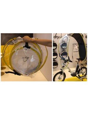 The Dryve rain cover reminds us very much of BMW's ill-fated but memorable C1 motorcycle