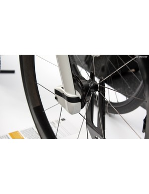 The front drum brake offers some of the benefits of a disc brake setup but in a more aero package