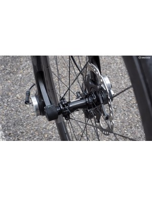 A thru-axle is essential for keeping the front wheel in plane