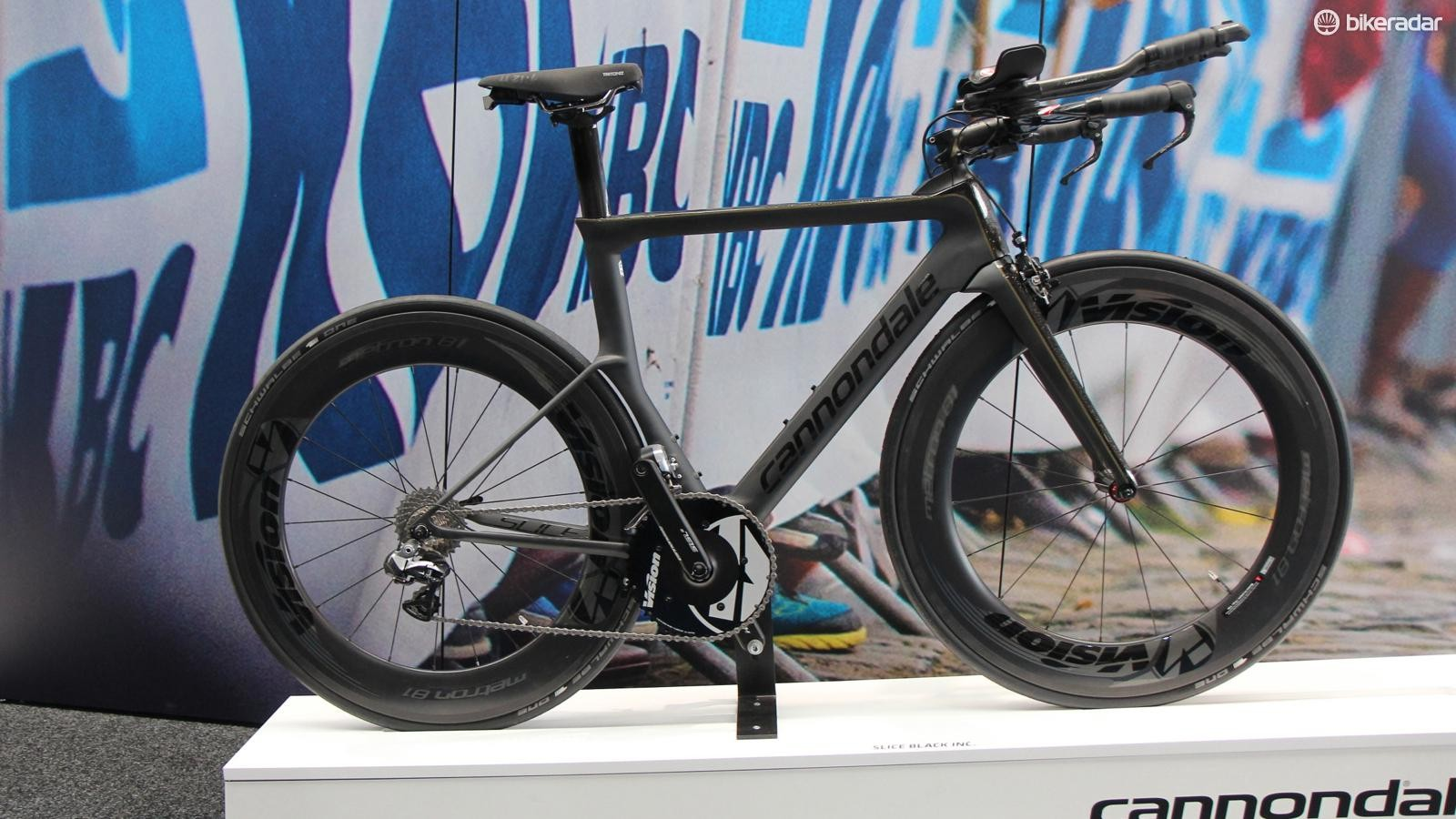 Brand new for 2015, the Cannondale Slice kicks off our TT bike gallery. Skinny shapes mean a claimed frame weight of 1,000 to 1,200g depending on the model