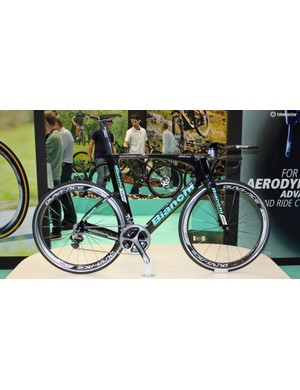 The Bianchi Aquila CV is a sleek, fully integrated TT bike used by Team Belkin in the 2014 Tour de France