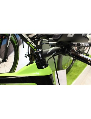 The stem can sit in line with the higher head tube area or be spaced up for more comfort