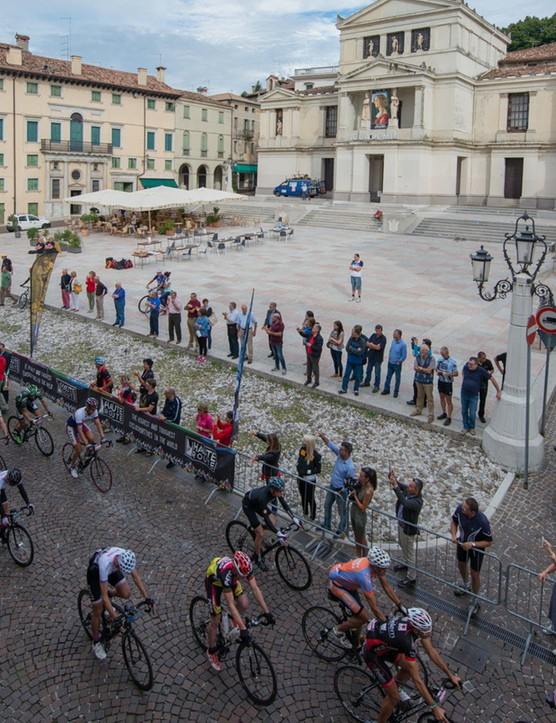 After a short bus ride from Venice on the morning of stage 1, the race got underway on the edge of the Dolomites in Conegliano