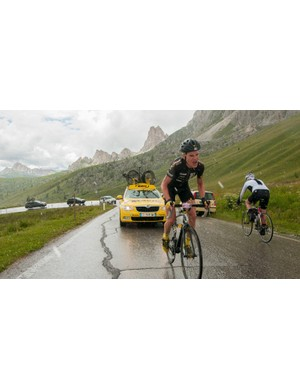 The overall winner, former pro Stefan Kirchmair of Austria, on his way to opening stage victory on the Passo Giau