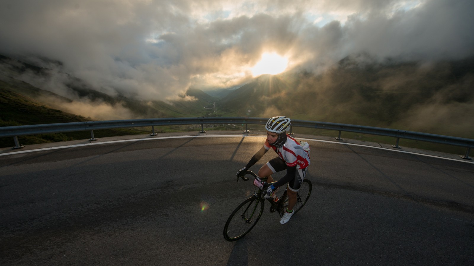 A rider on the chilly Furkapass early on stage 6. Temperatures were below zero at the summit