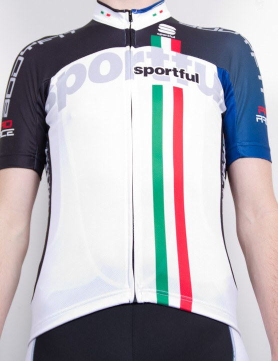 The BodyFit jersey offers a race-tight fit and high breathability