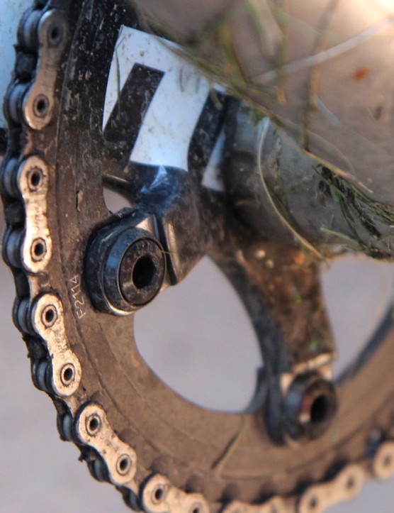 SRAM includes washers with the CX1 X-Sync ring so you can use the standard bolts from your double-ring crank