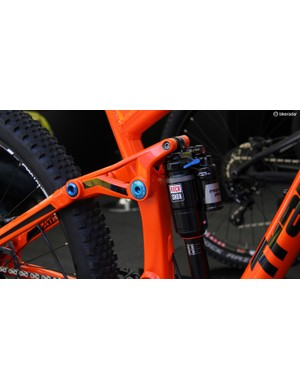 A RockShox Monarch Plus provides 155mm of rear wheel travel