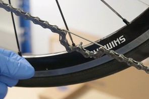 A broken spoke can be used to hold the chain together while you join the links