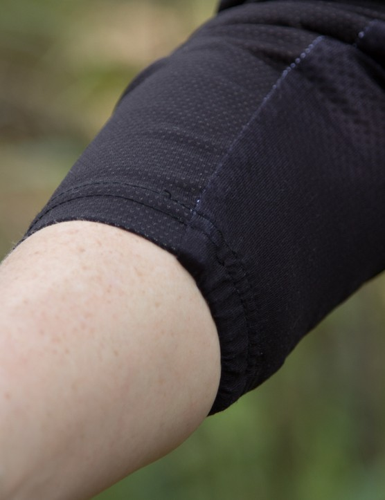On the plus side, the long sleeves don't pinch or add pressure when pulled partway up the arm