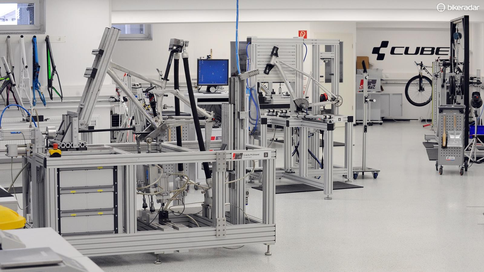 You might recognise some of the bikes on these test rigs. All of Cube's frame testing is done in-house