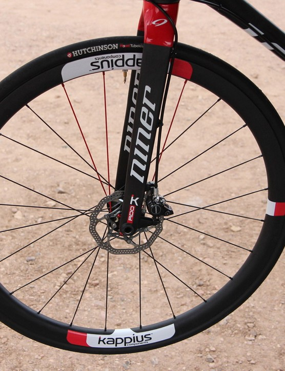 The Kappius road disc wheel is built for a thru axle