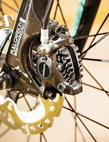 The Bianchi has Shimano's excellent hydraulic braking