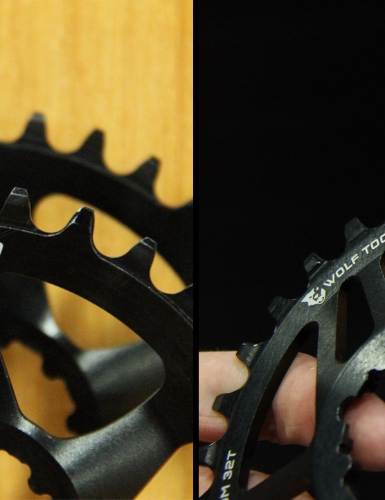 MRP and Wolftooth have redesigned 1x chainrings to fight premature wear and improve their ability to shed mud and debris
