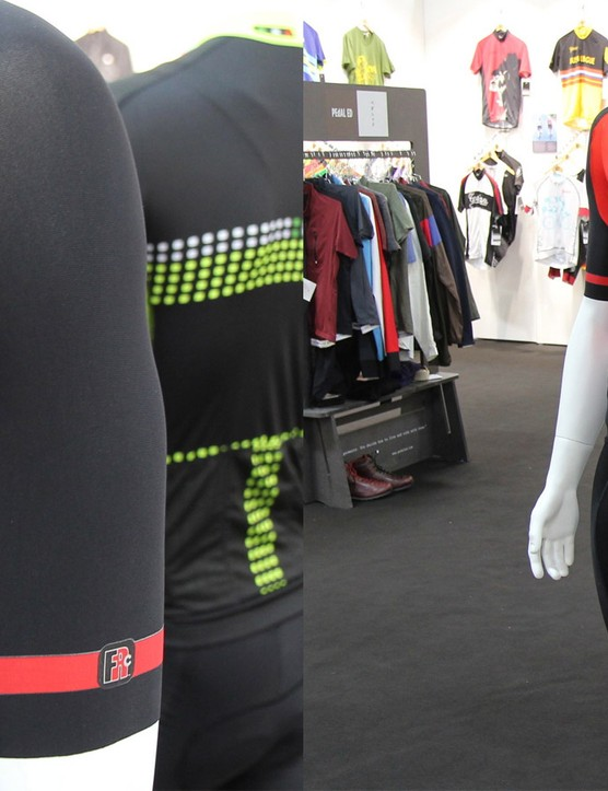Giordana's new FRC line employs longer, svelte sleeves and compressive leg grippers borrowed from medical fabric